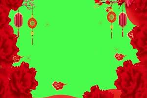 新年春节绿幕抠像边框相框拜年视频素材6手机特效图片