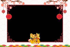 13 桃花灯笼拜年边框 春节绿布和绿幕视频抠像素材