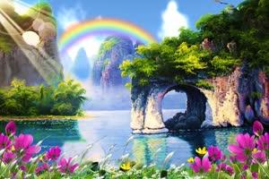 人间仙境山水背景 背景素绿布和绿幕视频抠像素材