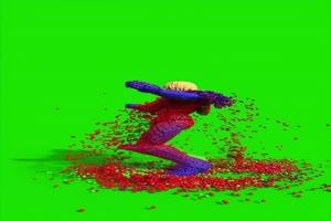 C4D粒子人物跳舞破碎3D人物破碎绿幕视频素材抠像手机特效图片