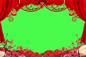 免费新年春节绿幕抠像边框相框拜年视频素材8手机特效图片