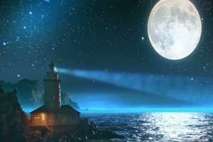 梦幻灯塔月亮海水星空夜