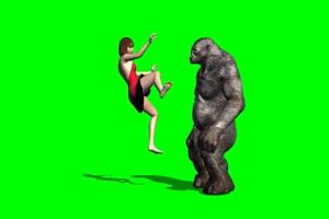 免费比基尼美女 打架 17 绿幕视频 抠像视频 剪映手机特效图片