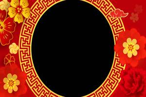 春节相框抠像黑幕视频 转圆环喜庆边框 带通道手机特效图片