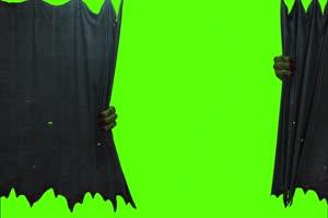 丧尸僵尸拉开帘子绿幕视频素材幕布打开 怪兽绿手机特效图片