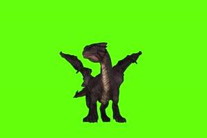 免费4K 黑色翼龙落地前面 绿幕动物视频抠像视频手机特效图片