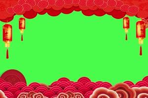 新年春节绿幕抠像边框相框拜年视频素材64手机特效图片