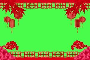 新年春节绿幕抠像边框相框拜年视频素材42手机特效图片
