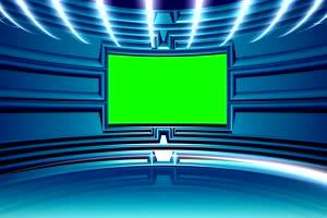 虚拟直播间 演播室 背景素绿布和绿幕视频抠像素材