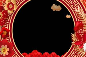 新年春节拜年边框相框 特效抠像视频素材 带通道手机特效图片