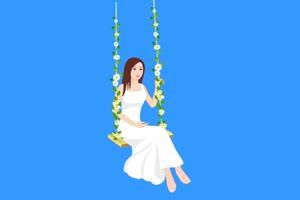 古装美女 秋千 3 绿屏抠像素材免费下载