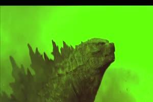 哥斯拉咆哮绿幕视频素材 怪兽绿幕剪映抠像@特效手机特效图片