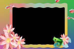 21卡通边框 透明背景 儿童背景 相框视频 抠像素手机特效图片