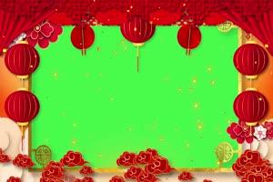 新年春节绿幕抠像边框相框拜年视频素材13手机特效图片