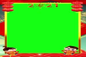 竖版手机专用 绿幕视频拜年边框 相框视频20手机特效图片