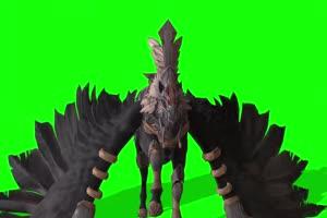 黑色飞马 神兽 飞鸟 绿幕素材 抠像视频 后期特效手机特效图片