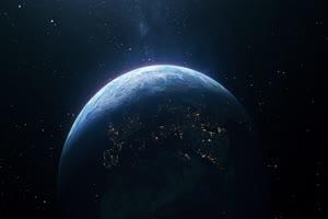 地球自转 行星太空背景视频06手机特效图片