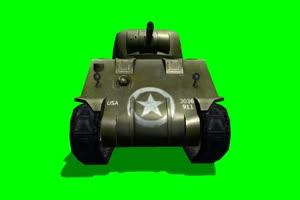谢尔曼 坦克 大炮 1 特效后绿布和绿幕视频抠像素材