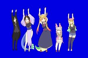 094 日本动漫 美少女 萝莉 绿幕视频Dragon Dance Ko手机特效图片