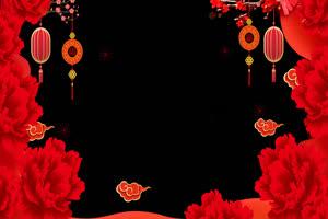 过年春节边框新年相框 抠像视频 带通道2手机特效图片