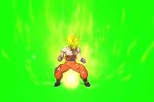 动漫龙珠角色 金发勇士前面 绿幕视频特效 抠像手机特效图片