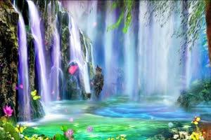 唯美瀑布 山水4 巧影AE 背绿布和绿幕视频抠像素材