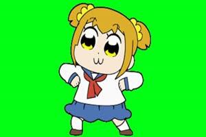 日本动漫 女孩跳舞 绿屏素材