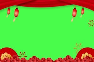 新年春节绿幕抠像边框相框拜年视频素材66手机特效图片