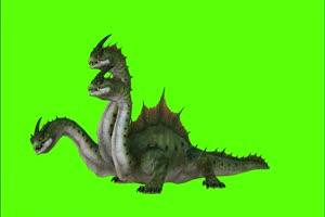 三头龙 上古巨兽绿幕绿幕视频素材 怪兽绿幕剪映手机特效图片