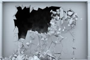 白色墙壁坍塌 碎裂绿布和绿幕视频抠像素材