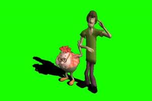 两个跳舞的卡通人 巧影素材 绿幕素材 抠像视频手机特效图片