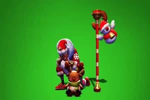 老夫子圣诞老人皮肤 王者荣耀绿幕素材 剪映特效手机特效图片