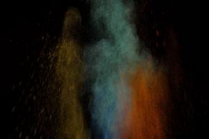 粉尘颜料燃料五彩粉末粒子 侧边 侧面 4 黑幕抠像手机特效图片