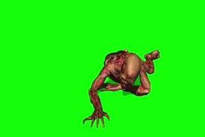僵尸爬行绿布和绿幕视频抠像素材