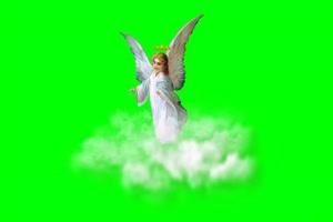 天使 云 白色绿屏抠像 特